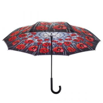 Stained Glass Poppies Reverse Cover Umbrella