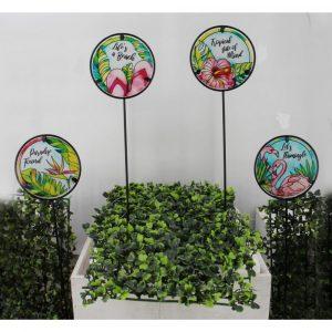 Tropical Round Glass Garden Stake